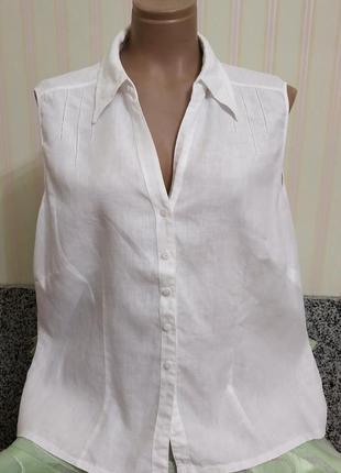 Нарядная льняная блузка с мережкой большого размера от м&s
