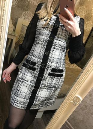 Твидовый сарафан платье в клетку