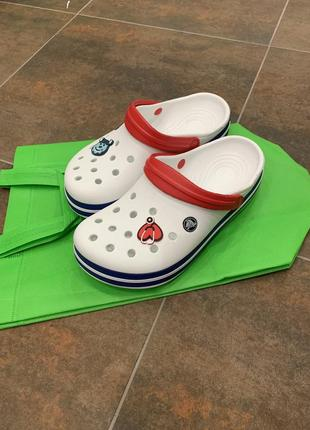 Сабо,кроксы, crocs crocband clog белые