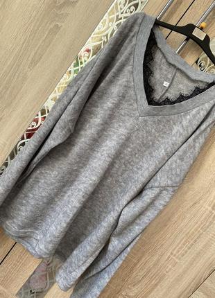 Шикарный свитер оверсайз с кружевом \джемпер с кружевом