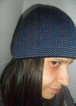 Стильная мужская шапка синий меланж, теплая, полушерсть на флисе