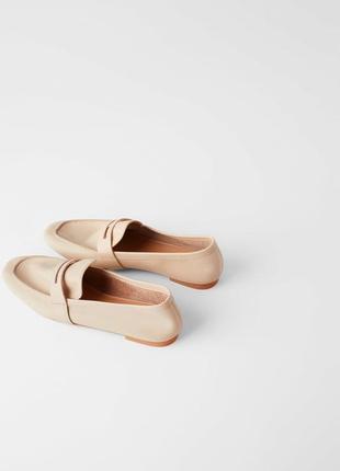 Светло-розовые мокасины туфли лоферы от zara весна лето 2020 нат кожа качество! размеры!