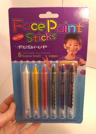 Аквагрим, 6 цветов, face paint sticks