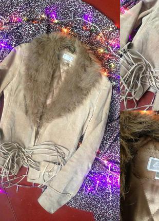 Куртка кожанка косуха дубленка с мехом натуральная пудровая, нюдовая бесплатная доставка