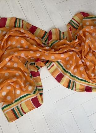 Платок шарф порео оранжевый в белый горох лето пляж