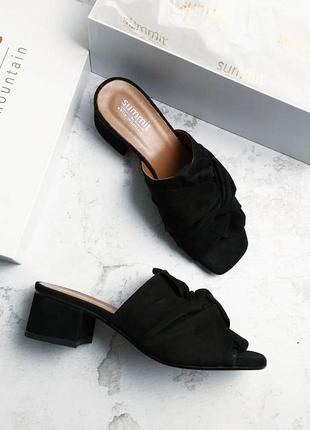 Sammit by white mountain черные замшевые босоножки сабо на удобном каблуке