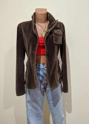 Жакет италия  велюровый коричневый пиджак