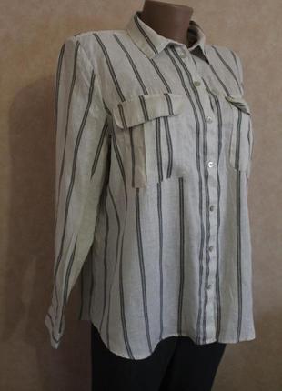 Льняная рубашка в полоску от h&m