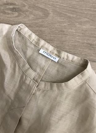 Блуза лён воротник стойка
