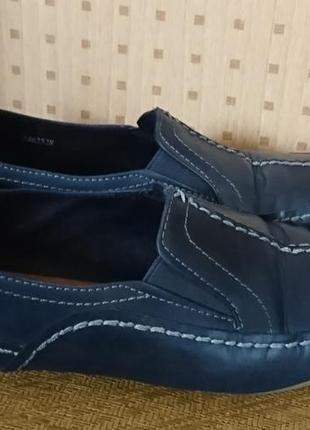 Оригинальные кожаные слиперы tamaris синие
