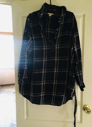 !коттоновая рубашка в клетку с поясом для бушующих мам и крупных леди!
