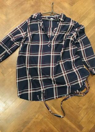 !коттоновая рубашка в клетку с поясом для бушующих мам и крупных леди!2 фото