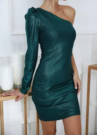 Коктейльное изумрудное блестящее платье вечернее