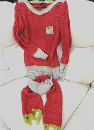 Коралловый свитер с шарфом р. s-m