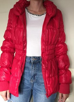Утепленная стеганая куртка р.s/xs красная, осень-зима-весна clockhouse деми