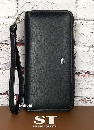 Кожаный клатч черный. женский кошелек классика. кожаное женское портмоне в коробке.