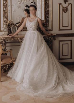 Шикарное блестящее свадебное платье 2020