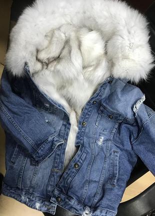 Тёплая джинсовка с натуральный мехом