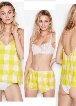 Комплект для дома и сна фланель пижама виктория сикрет victoria's secret майка, шортики