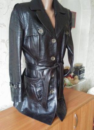 Шикарный кожаный удлинённый   пиджак  куртка френч ....срочно!!!