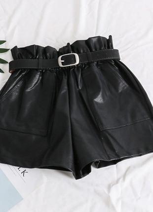 Шорты шорти эко кожа кожаные на высокой талии с ремнем новые качественные
