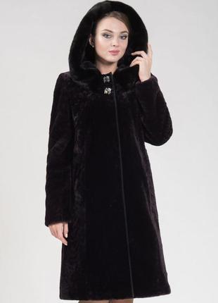 Шуба 52, 54, 56 мутон мутоновая овчина черная с капюшоном 115см длина