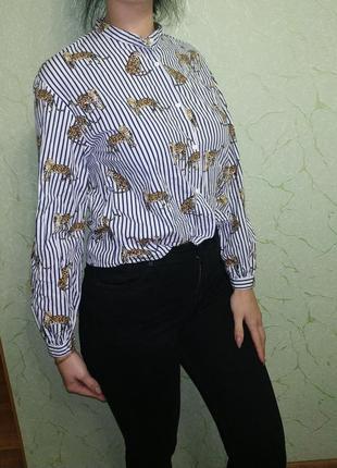 Рубашка в полоску принт тигры2 фото