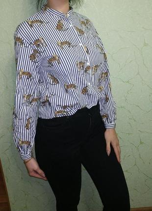 Рубашка в полоску принт тигры8 фото