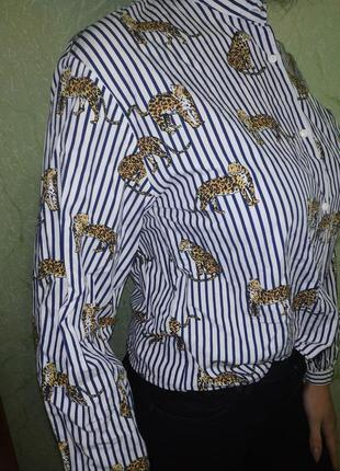 Рубашка в полоску принт тигры1 фото