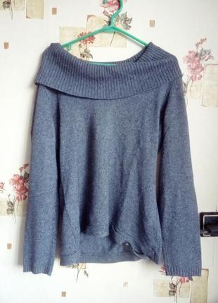 Женская кофта свитер вязанный шерсть серый с высоким широким объемным воротником горлом