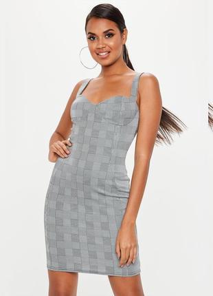 Обтягивающее платье бюстье в клетку, эластичное платье по фигуре missguided