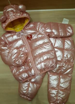 Демисезонный перламутровый костюм,комбинезон для девочки р.80-86