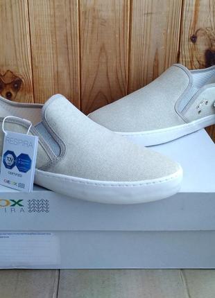Новые стильные удобные дышащие слипоны geox мокасины оригинал в коробке
