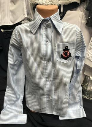Рубашка блуза 122-152 коттон полоска