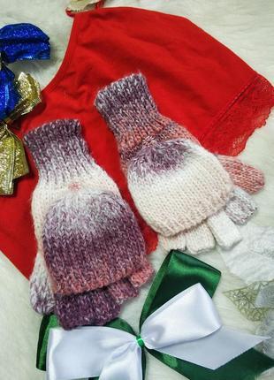 Стильні теплі рукавиці варішки трансформер мінєтки tu