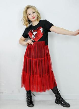 Платье подростковое принт сердце рост 134-176