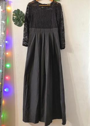 Чёрное кружевное платье макси olko
