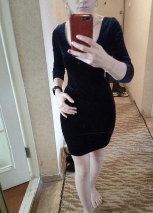 Сукня бархатна, темно-сина