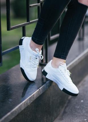 Puma cali white black шикарные женские кроссовки пума кали белые