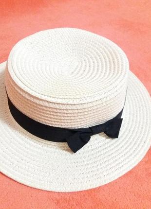 Соломенная шляпа канотье!!! хит лета! шляпка от солнца панамка белая бежевая красная1 фото