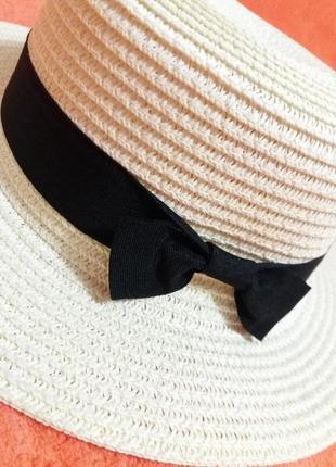 Соломенная шляпа канотье!!! хит лета! шляпка от солнца панамка белая бежевая красная7 фото