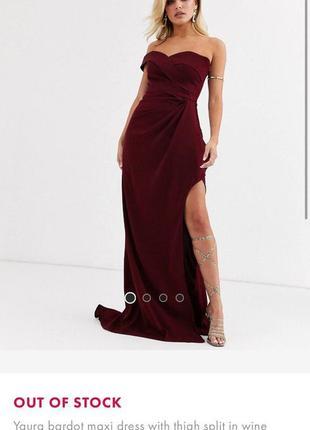 Вечернее платье идеального бордового цвета со шлейфом asos