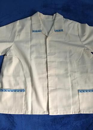 Бежевая вышитая винтажная мужская рубашка вышиванка