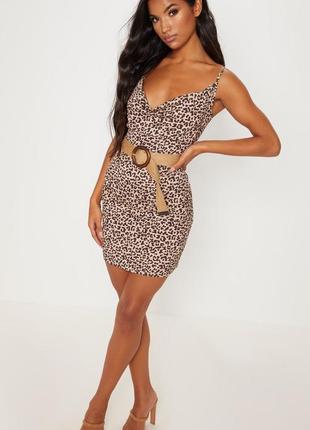Сексуальне плаття в принт prettylittlething платье леопард слип ночнушка бельвой стиль