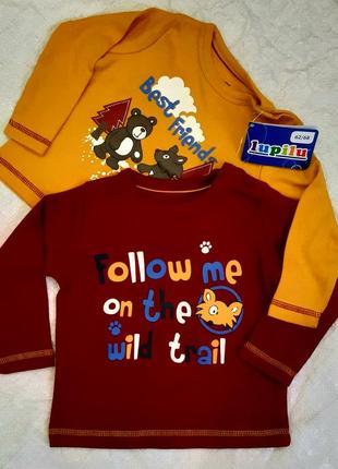 Набор из 2шт футболка лонгслив  lupilu мальчику от 0 до 2 лет