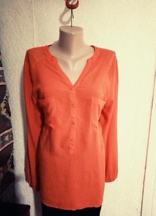 Розпродаж! блуза штапeль коралового кольору