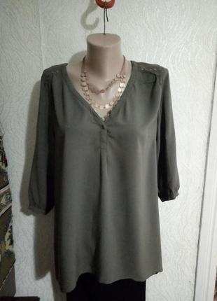Розпродаж! асиметрична блуза зі штапєлю кольору хакі
