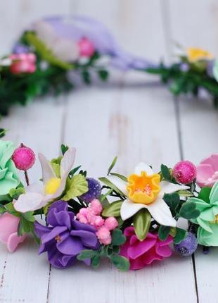 Весенний веночек с цветами ручной работы для фотосессии или роли весна