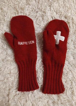 Флісові в'язані рукавички raiffeisen варежки