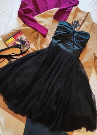 Чёрное коктейльное вечернее бальное пышное платье миди корсет и юбка coast